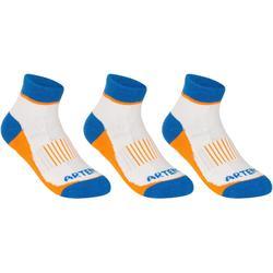 青少年中筒运动袜RS 500 三双装 - 蓝/橙
