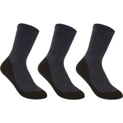 球拍类运动毛巾底3双装儿童高帮袜 ARTENGO RS500