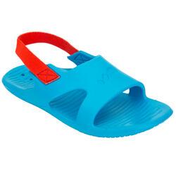 男童泳池凉鞋SLAP 100 - BLUE RED