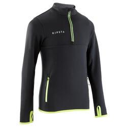 儿童足球训练半拉链运动衫T500 - 黑色/霓虹黄