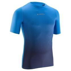 成人短袖训练紧身衣 Keepdry 100 -褪色蓝