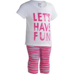 基础塑形/普拉提柔软易穿脱亲肤纯棉材质童装婴幼儿12个月~4岁健身套装 DOMYOS Short-Sleeved Outfir