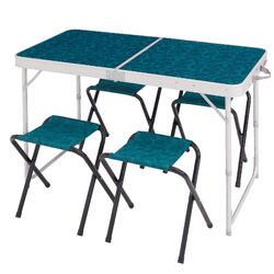 户外露营4人长桌(含4把椅子)折叠桌 QUECHUA 4-6 PERSON table