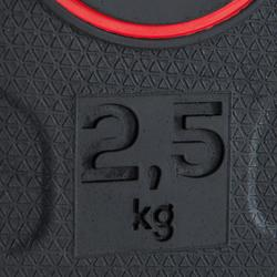 包胶杠铃片 2.5公斤内直径28毫米 带握把