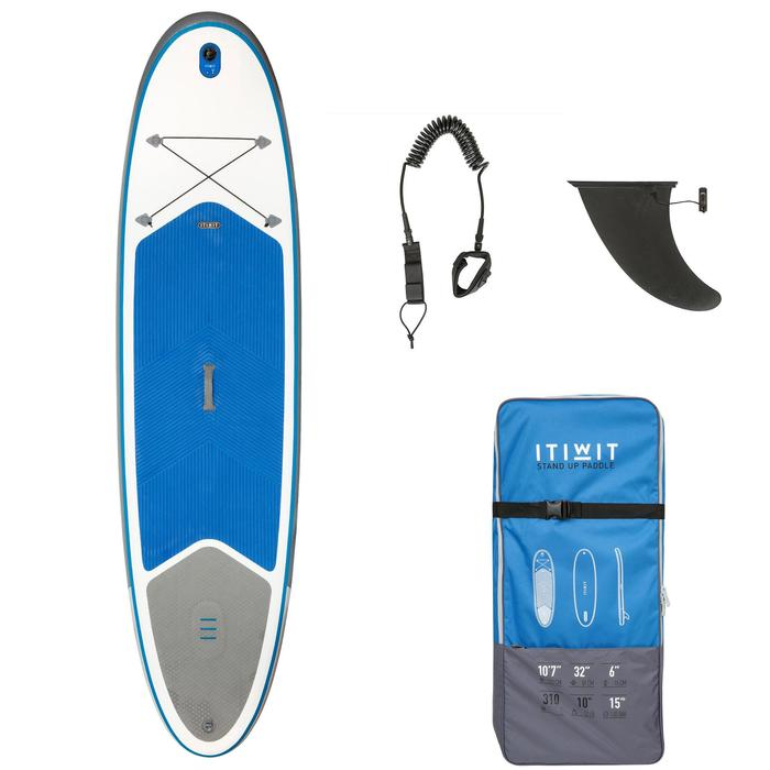 100 Inflatable 10'7 Touring Stand Up Paddle - Blue - 1132647