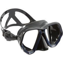 水肺潜水面镜黑色 SCD 500 双层镜片黑色裙边和蓝色头带