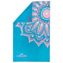 微纤维游泳毛巾L 80 x 130 厘米 - Blue/Pink Print