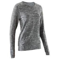 瑜伽运动保暖柔软支撑无缝生态棉可倒立女士长袖T恤 DOMYOS