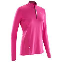 跑步运动快干带拉链女士长袖运动衫 KALENJI RUN DRY+