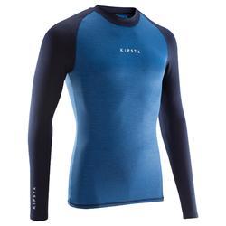成人长袖训练紧身衣Keepdry 100 - 杂蓝色
