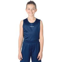 男孩/女孩初学者篮球运动背心T100 - 海军蓝