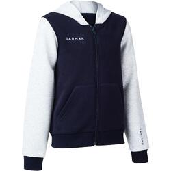 男孩/女孩足球夹克J100 适用于初学者- 海军蓝/灰色