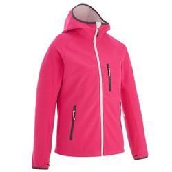 青少年女款徒步软壳登山夹克 HIKE 900 - 粉色