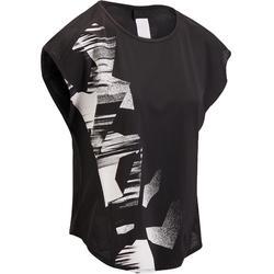 有氧健身心肺训练排汗透气弹性轻盈面料女士T恤短袖 DOMYOS
