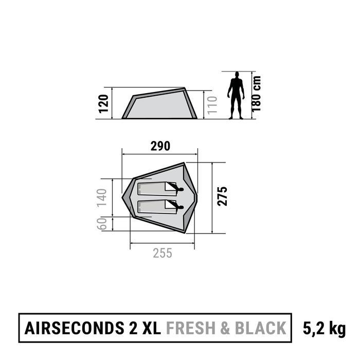 透气遮光 2 人露营帐篷 AIR SECONDS XL FRESH&BLACK - 白色