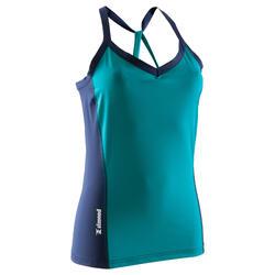女式攀岩背心 - 蓝绿色