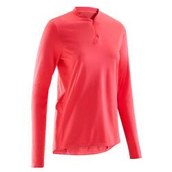 女式长袖骑行运动衫 100 -粉色