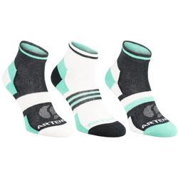 成人中帮运动袜RS 160 三双装-灰色/绿色