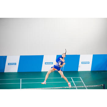 女士羽毛球运动T恤 860 蓝色/粉色