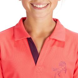 500女童骑马网眼短袖Polo衫 - 粉色/李子
