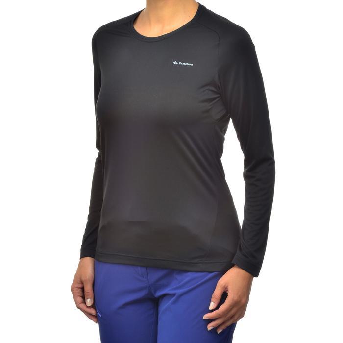 女式山地徒步长袖T 恤 MH100 - 黑色