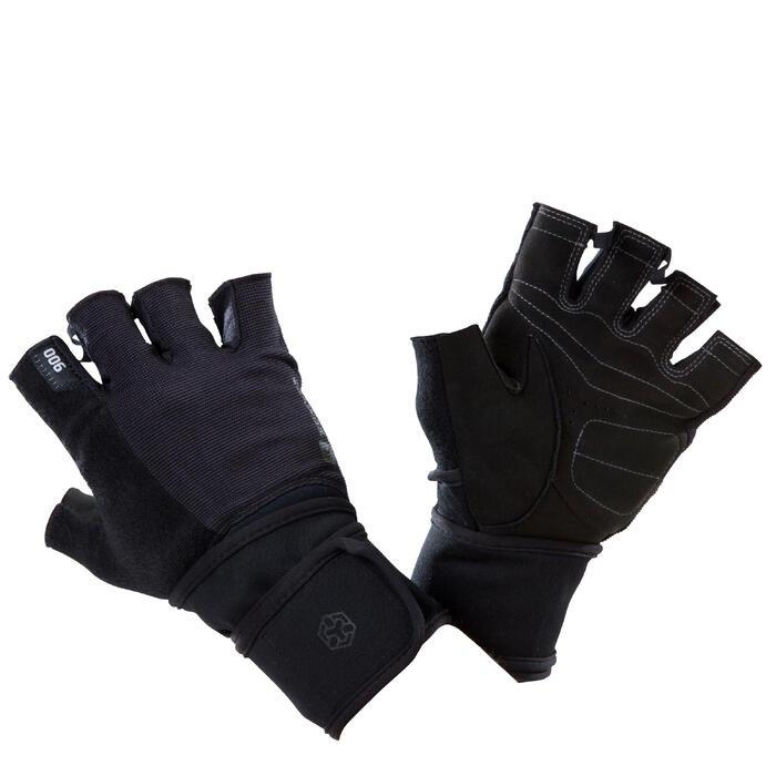 双重魔术贴腕口的力量训练手套 500系列 黑色/灰色