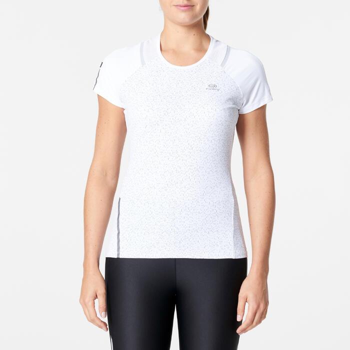 女式跑步运动快干T恤-雪白色