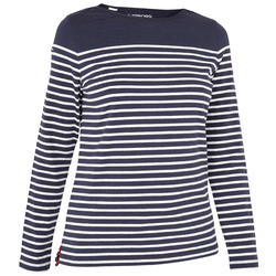 女式长袖帆船T恤Sailing 100 - Blue