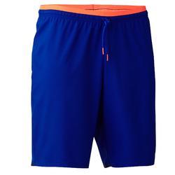 成人足球运动短裤F500 -蓝色/橙色
