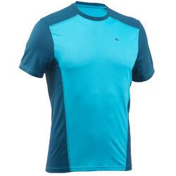 男式登山短袖T恤 MH 500 蓝色