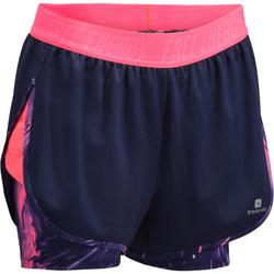 520 Women's Cardio Fitness 2-in-1 Shorts - Navy Blue / Pink Print