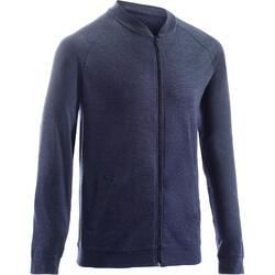 男式基础健身拉链夹克 100 系列 - 蓝色