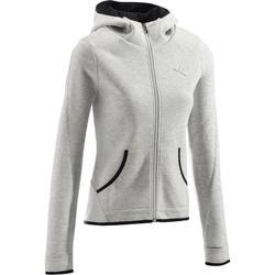 女式基础健身连帽夹克 - 浅灰色