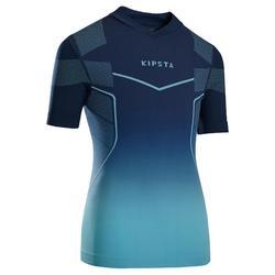 儿童短袖训练紧身衣 Keepdry 500 -蓝色/蓝绿色底纹