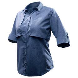 户外运动多功能棉质舒适女士长袖衬衫 FORCLAZ