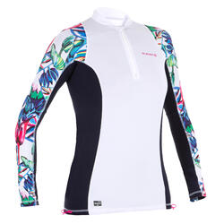 500 women's long sleeve UV protection surfing top - White print