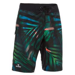 男式长款冲浪裤500 Jungle green