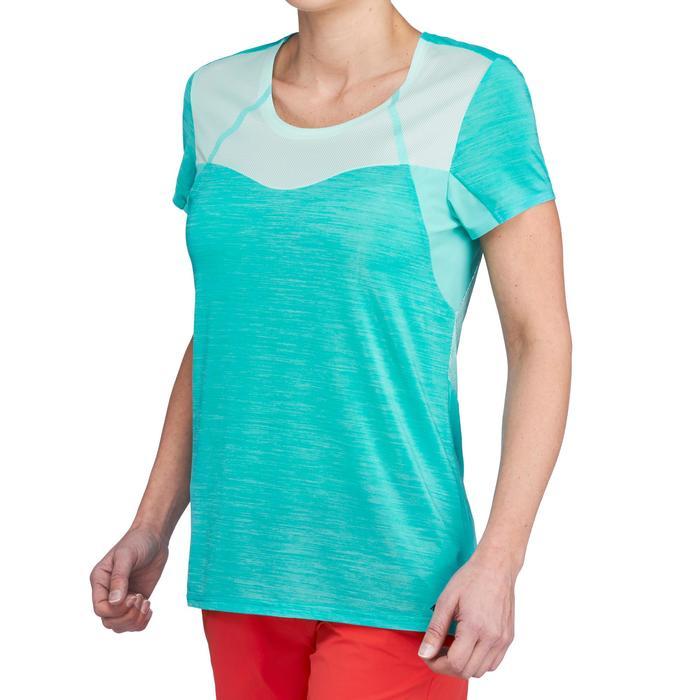 女式竞速徒步轻薄快干T恤 FH500 - 蓝绿色