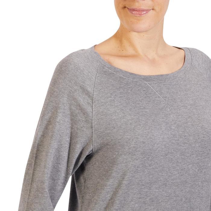 女士基础健身与普拉提长袖T恤 500 - 斑驳中灰色