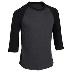 BA 550 Adult 3/4 Sleeve Baseball T-Shirt - Grey/Dark Grey