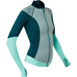 长袖浮潜上装 - 女式拼接蓝色氯丁橡胶
