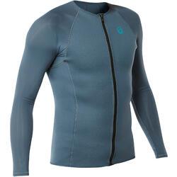 浮潜上装- 男式灰色长袖氯丁橡胶