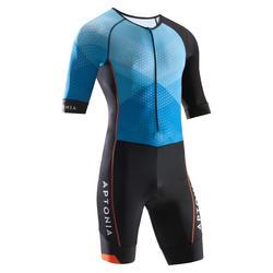 男式短袖前拉链铁人三项短距离运动套装 蓝色/黑色