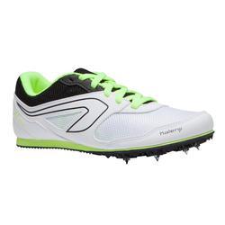 青少年和成人多功能运动钉鞋 白色 黄色