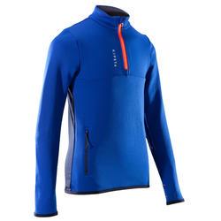 儿童足球训练半拉链运动衫T500 - 蓝色/朱红色