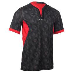 成人正反两穿橄榄球运动衫R500 - 黑色/红色