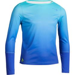 女童网球保暖长袖T恤-蓝色