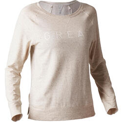 基础健身吸汗排湿/贴身舒适女士长袖印花T恤 DOMYOS