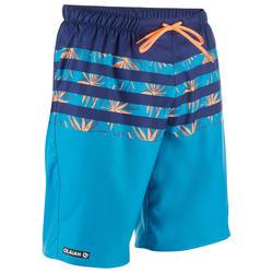 男式长款沙滩裤100 - Flostripe Blue