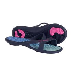 女式泳池拖鞋 SLAP 500 - BLUE GREEN